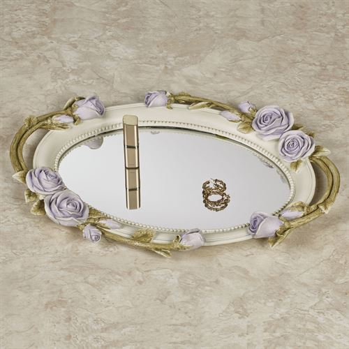 Rose Melody Mirrored Vanity Tray Purple