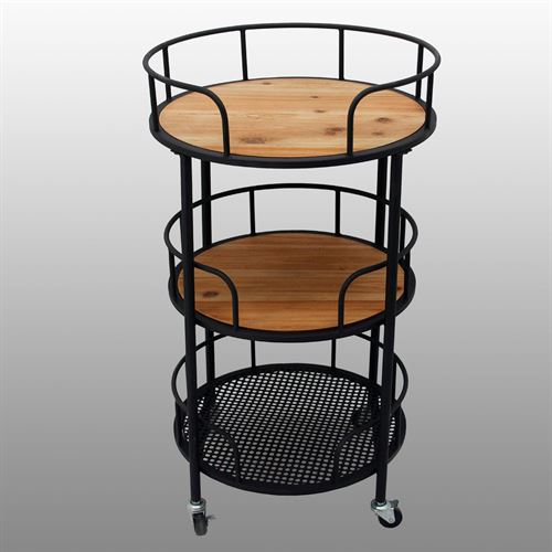 Three Tier Serving Bar Cart Black