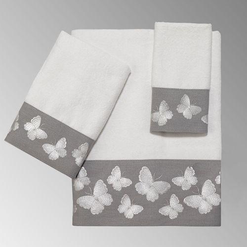 Yara Bath Towel Set Gray Bath Hand Fingertip