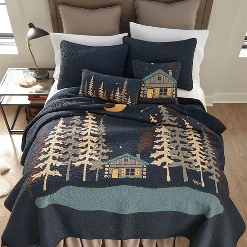Moonlit Cabin Quilt Black