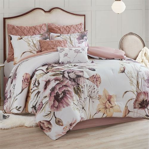 Cassandra Comforter Bed Set Rose