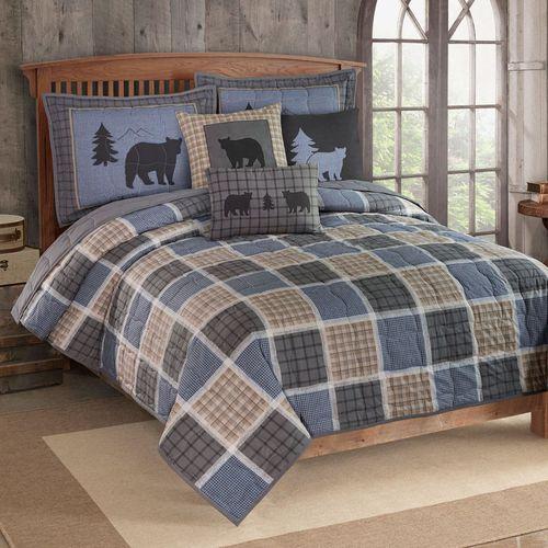 Bear Square Mini Quilt Set Steel Blue