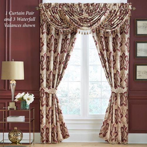 Esmeralda Lined Tailored Curtain Pair Burgundy