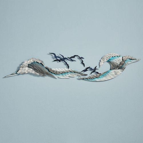 Ocean Waves Wall Sculpture Set Blue Set of Three