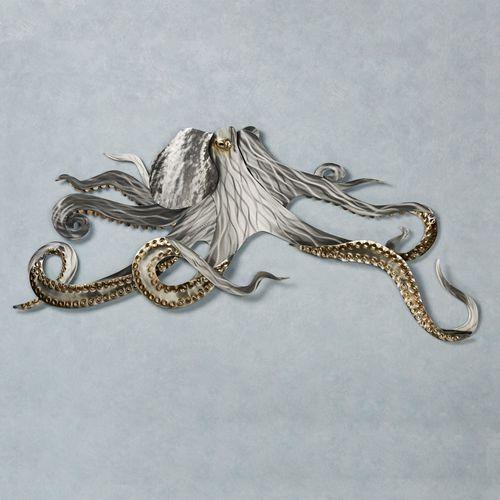 Octopus Metal Wall Sculpture Silver