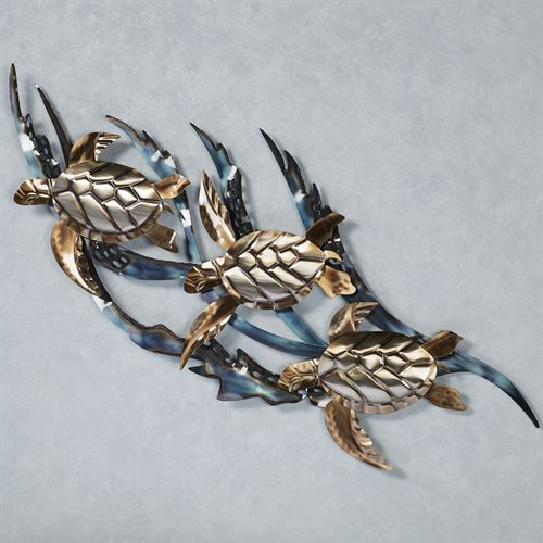 Sea Turtles in Kelp Wall Sculpture Multi Metallic