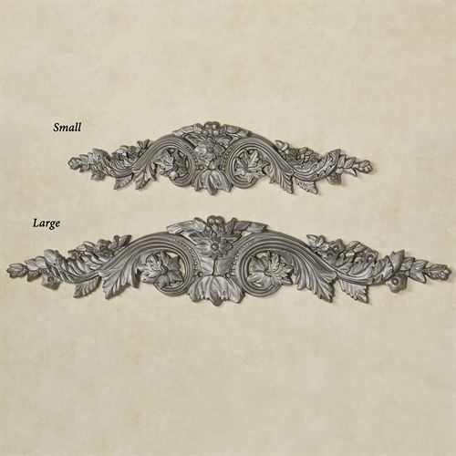 Flowering Medallion Decorative Wall Topper Aged Silver