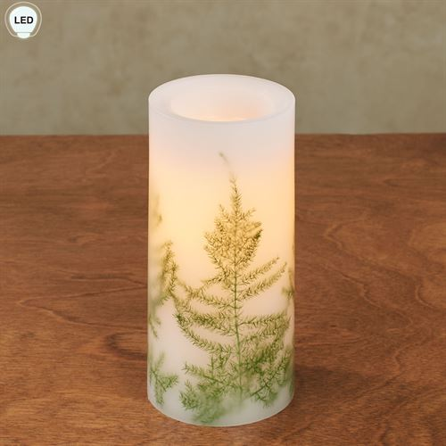 Fern LED Pillar Candle White