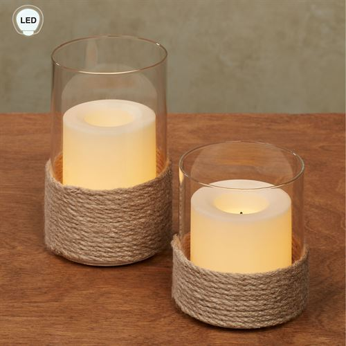Birk LED Hurricane Candleholders Cream Set of Two