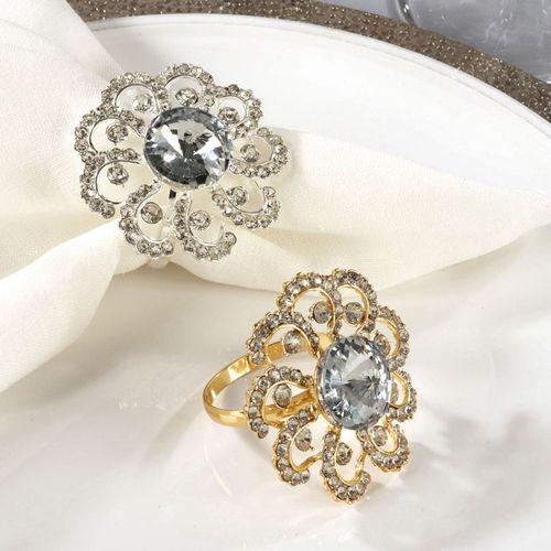 Jeweled Elegance Napkin Rings Gold Set of Four