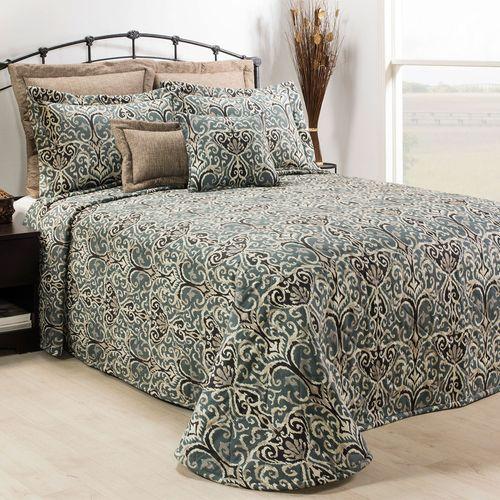 Midnight Ikat Bedspread Steel Blue