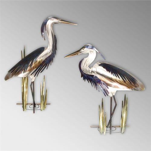 Blue Heron with Head Up Wall Sculpture Silver
