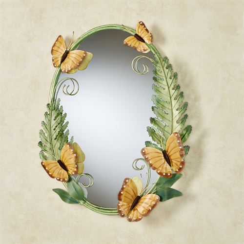 Butterfly Song Oval Wall Mirror Green
