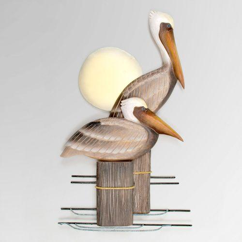 Pelican Pair Wall Art Brown