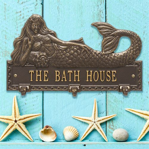 Mermaid Personalized Wall Hook Plaque Bronze/Gold