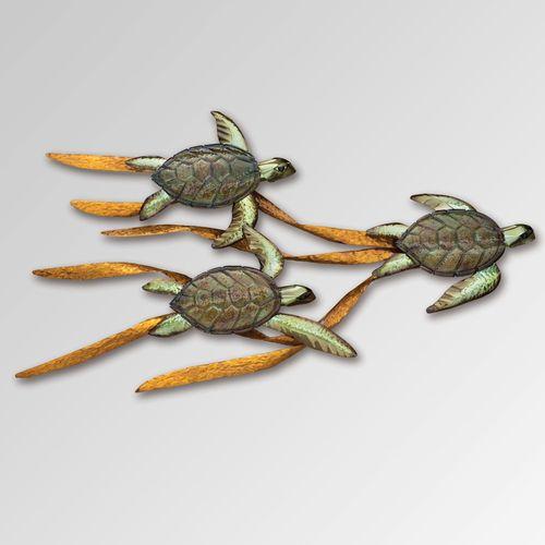 Baby Sea Turtles in Kelp Wall Sculpture Copper