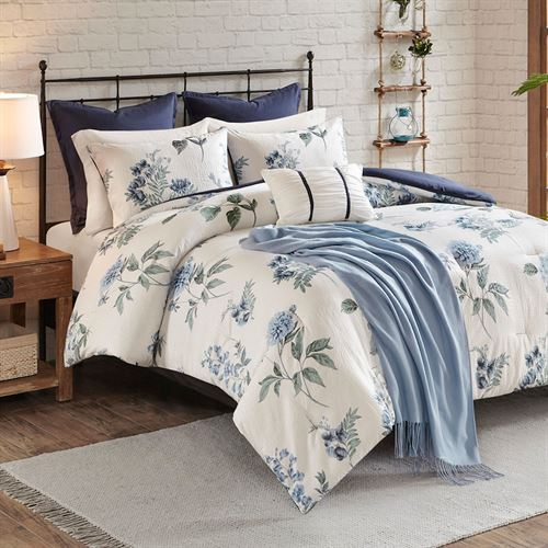 Zennia Comforter Bed Set Blue