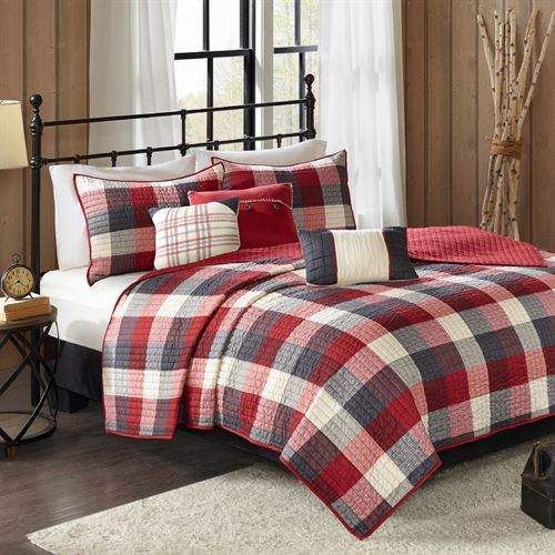 Ridge Coverlet Bed Set Red