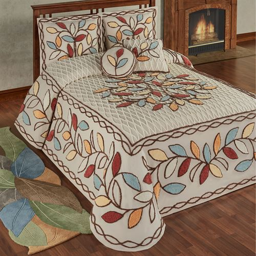 Bountiful Leaves Grande Bedspread Set Multi Warm