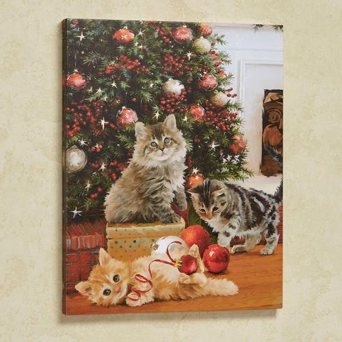 A Kitten Christmas Cats Canvas Wall Art Multi Warm