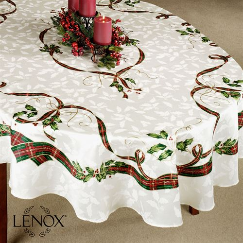 Lenox Holiday Nouveau Oval Tablecloth Off White