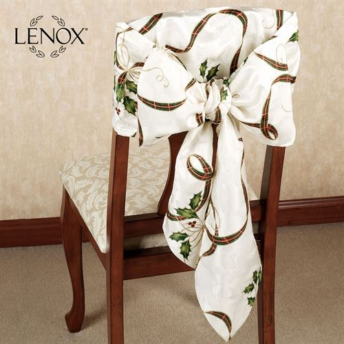 Lenox Holiday Nouveau Chair Bows Off White Set of Two