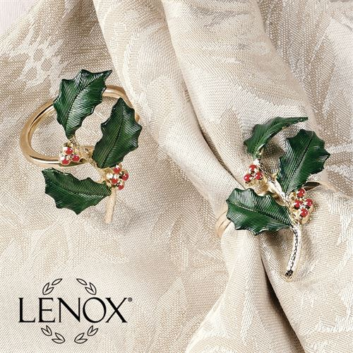 Lenox Holiday Napkin Rings Green Set of Four