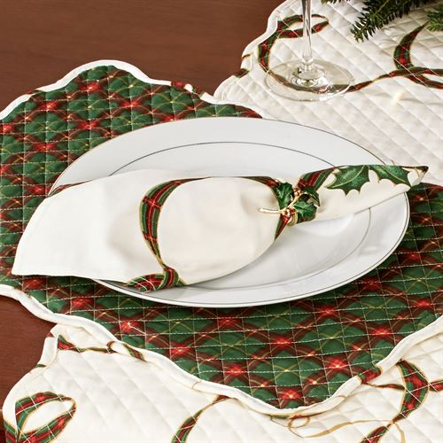 Lenox Holiday Nouveau Quilted Table Runner Light Cream 14 x 70