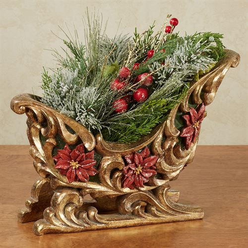 Poinsettia Sleigh Table Accent Gold