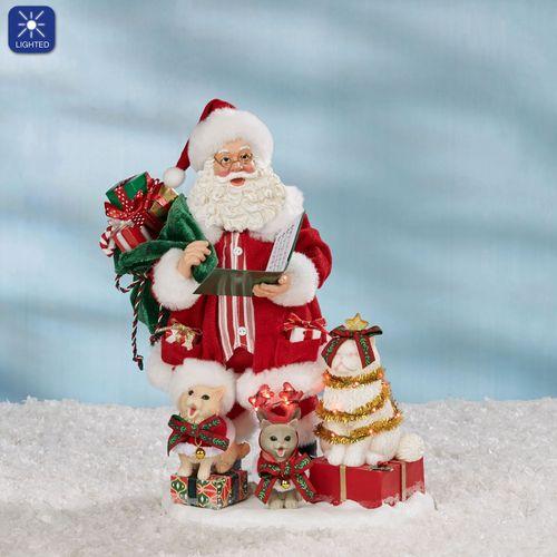 Kitten Carols Clothtique Santa Figurine Red