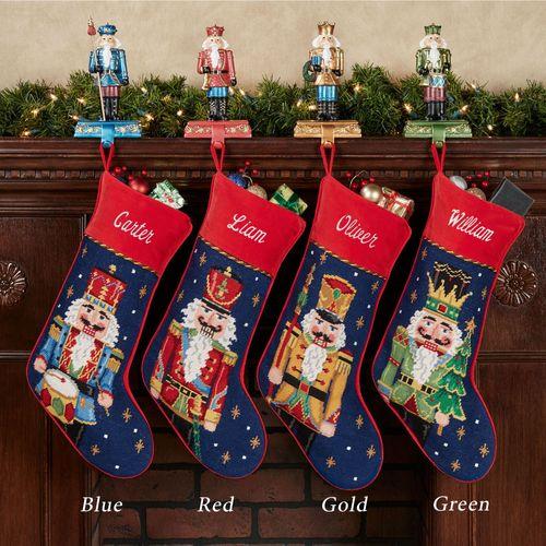 Holiday Nutcracker Needlepoint Stocking