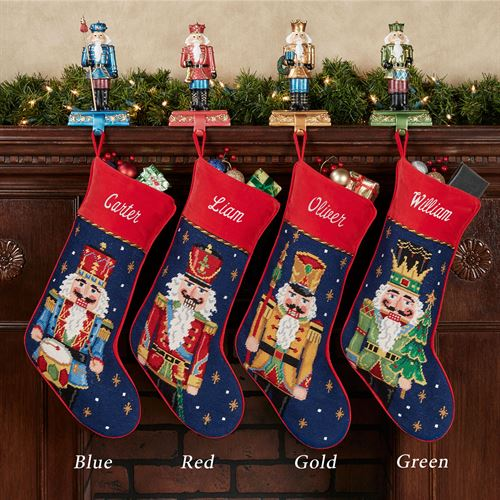 Christmas Stocking Handmade Quilted Red Green and Gold
