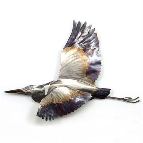 Flying Blue Heron Wall Sculpture Multi Metallic
