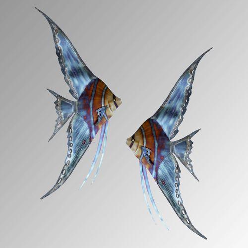 Angelfish Facing Left Wall Sculpture Multi Metallic