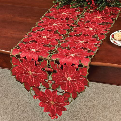 Christmas Poinsettia Cutwork Table Runner Red