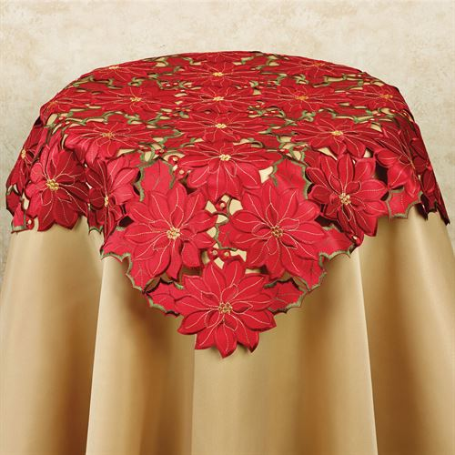 Christmas Poinsettia Cutwork Table Topper Red 34 Square