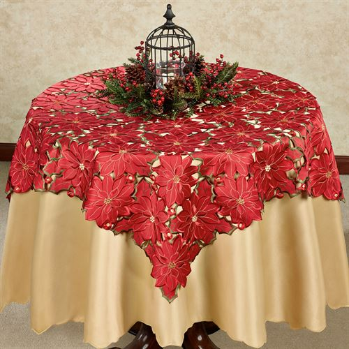 Christmas Poinsettia Large Cutwork Table Topper Red 52 Square