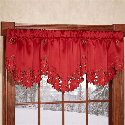 Christmas Poinsettia Valance Red 70 x 22