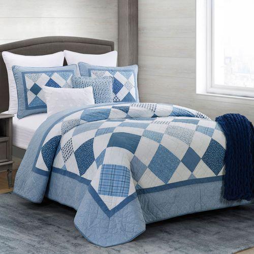 Azure Diamond Reversible Mini Quilt Set Blue