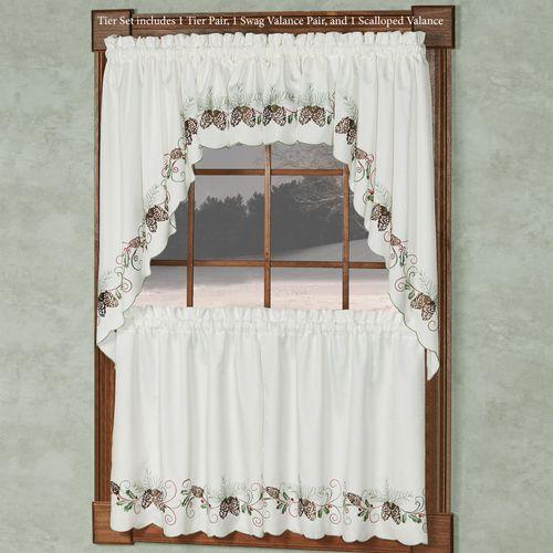 Holiday Garland II Window Treatment Set White