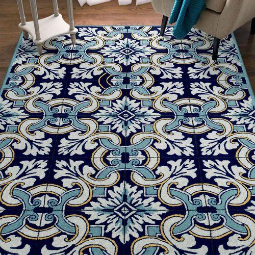 Floral Tile Rectangle Rug Blue