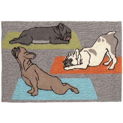 Yoga Dogs Rectangle Mat Gray