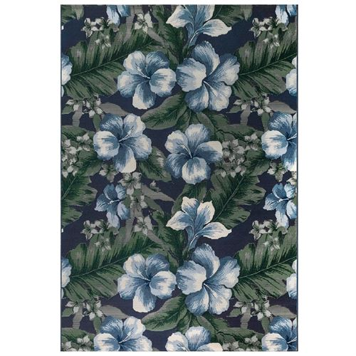 Floral Navy Rectangle Rug
