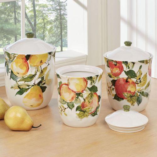 Ambrosia Fruit Kitchen Canisters Multi Jewel Set of Three
