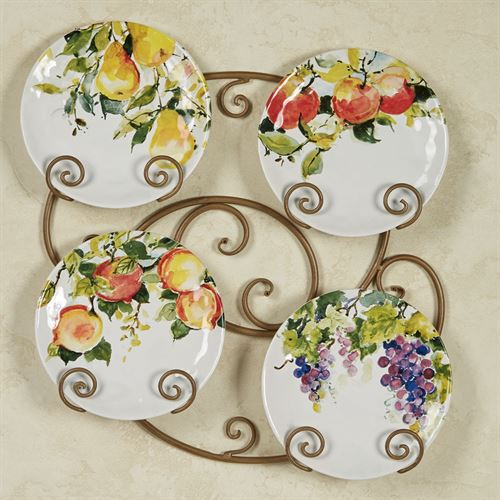 Ambrosia Fruit Dessert Plates Multi Jewel Set of Four