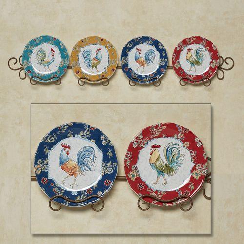 Morning Bloom Rooster Dessert Plates Multi Jewel Set of Four
