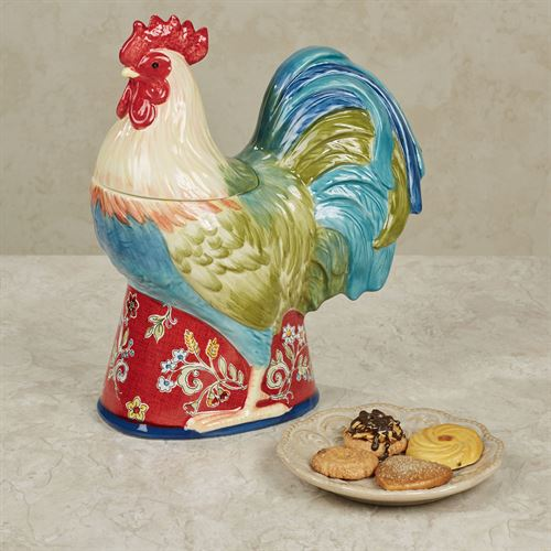 Morning Bloom Rooster Cookie Jar Multi Jewel