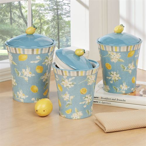 Citron Lemons Kitchen Canisters Yellow Set of Three