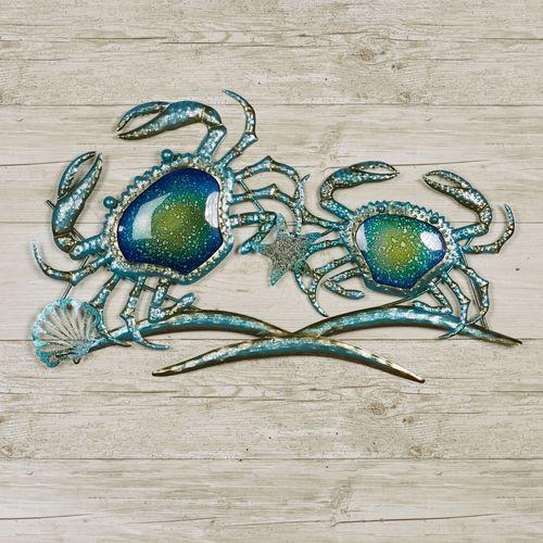 Crab Duo Indoor Outdoor Metal And Glass Coastal Wall Art