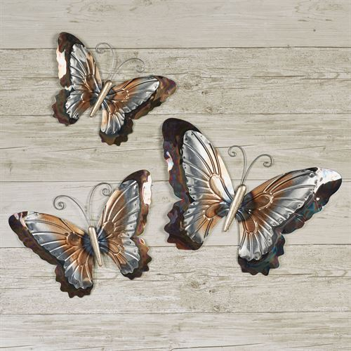 Butterfly Shimmer Wall Art Multi Metallic Set of Three